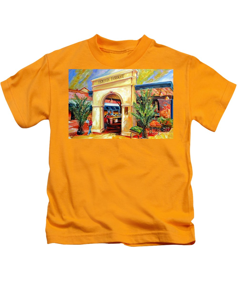 New Orleans Kids T-Shirt featuring the painting French Market Sunshine by Diane Millsap