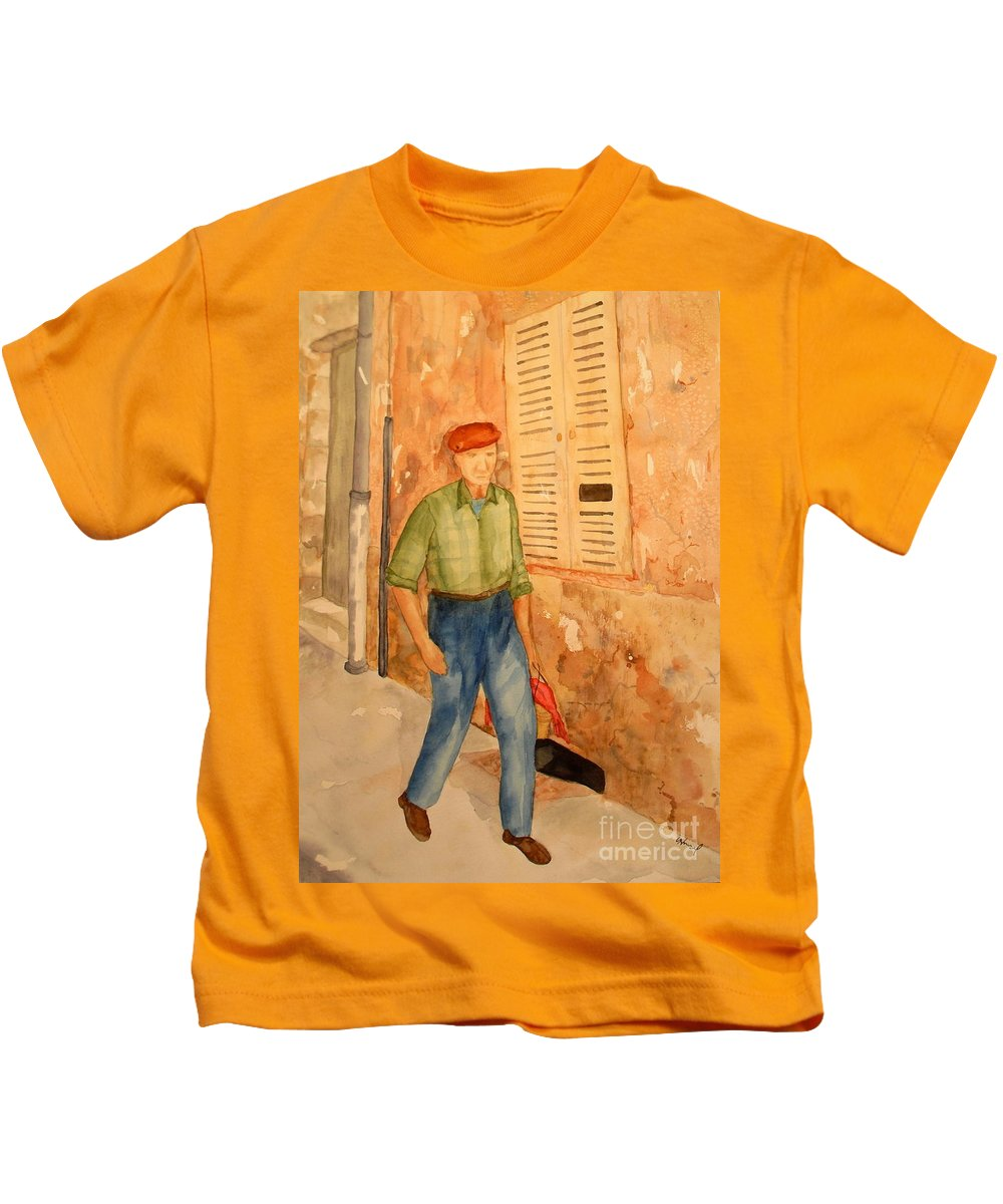 Frenchman Kids T-Shirt featuring the painting Fresh Bread In The Morning by Vicki Housel