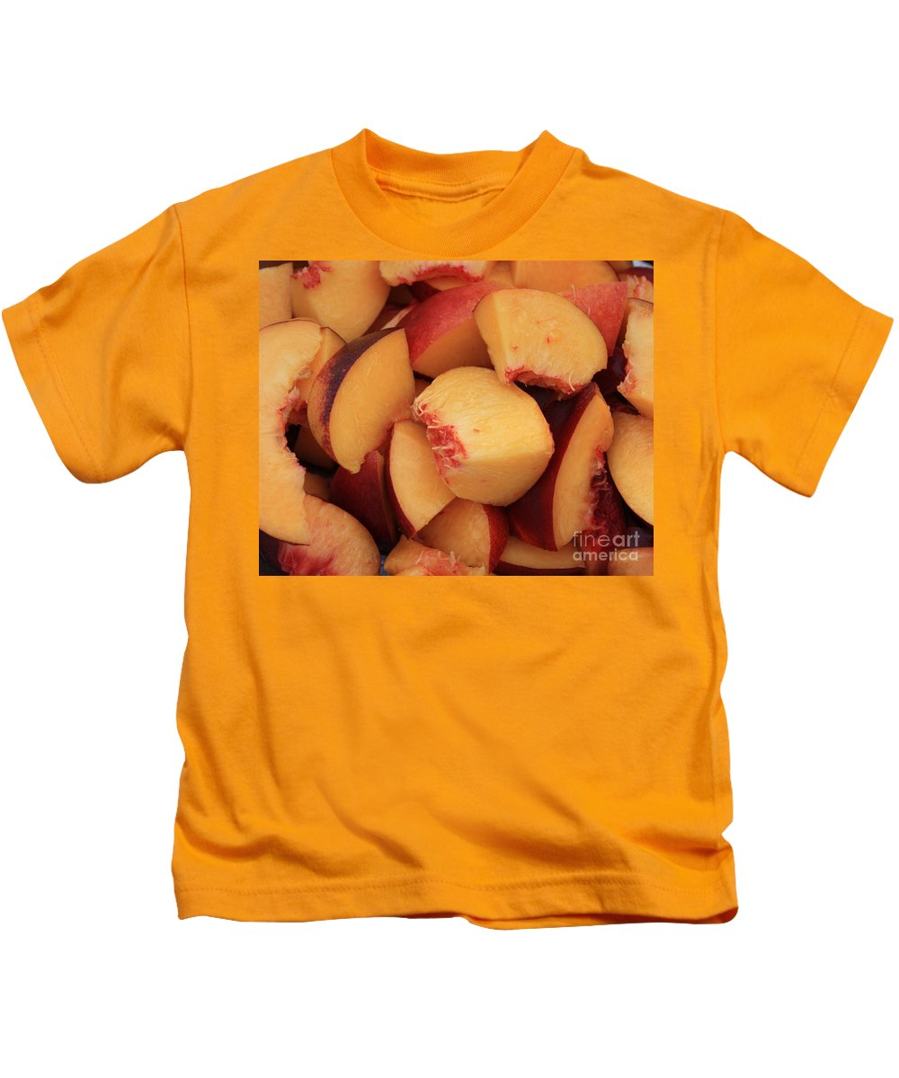 Peaches Kids T-Shirt featuring the photograph Fresh Peaches by Carol Groenen