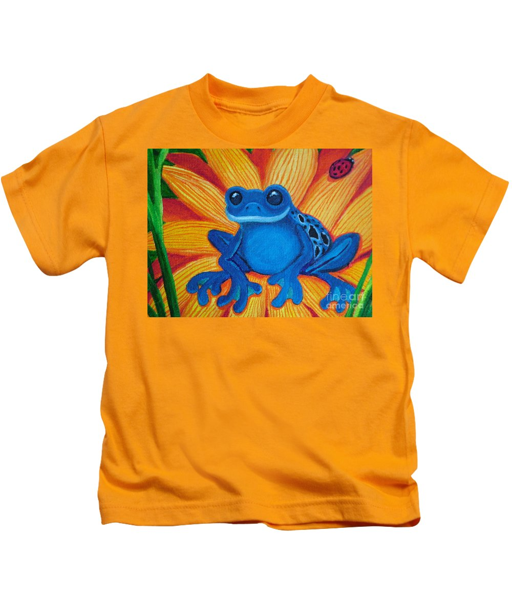Frog And Flower Painting Kids T-Shirt featuring the painting Frog And Lady Bug by Nick Gustafson