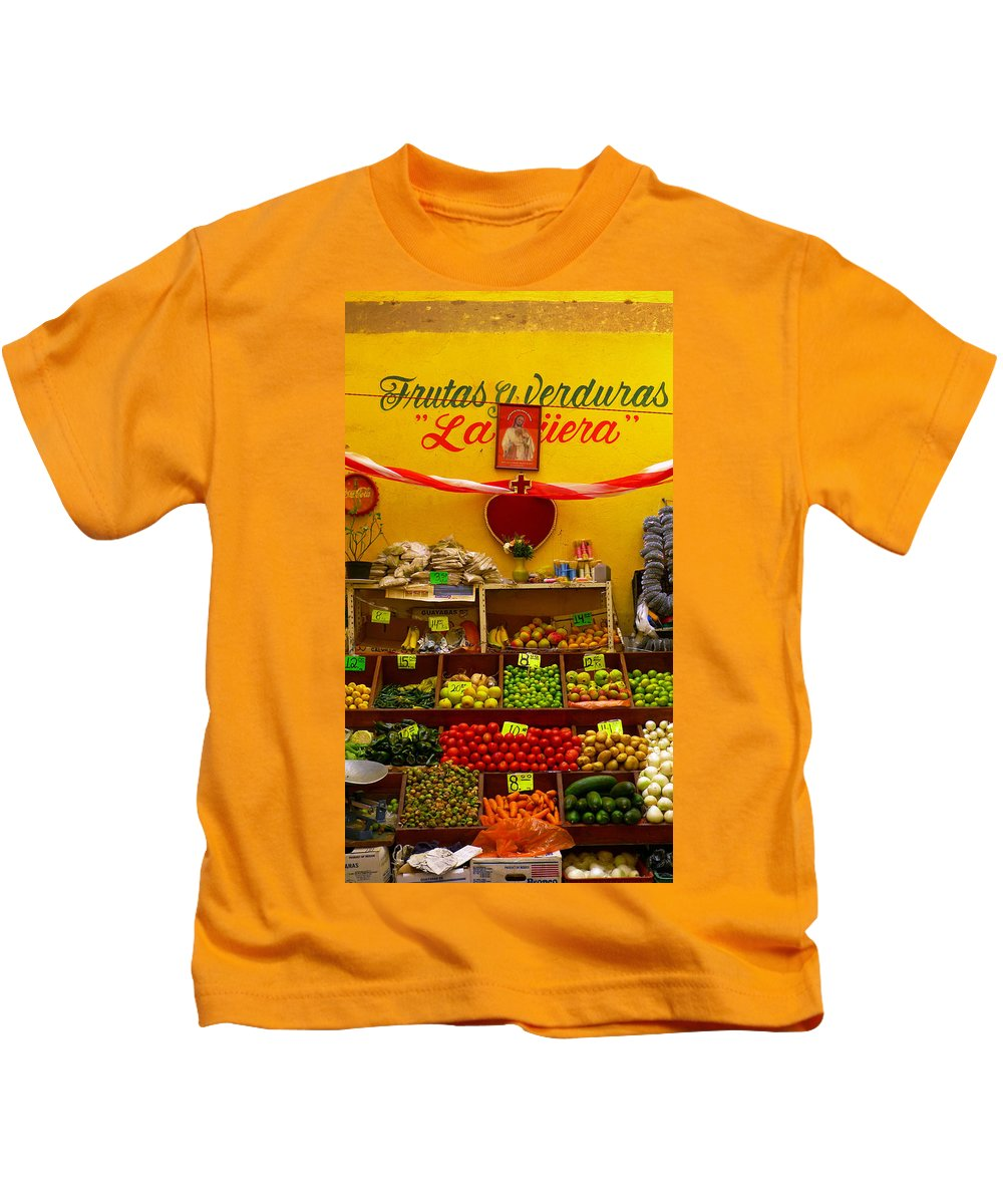 Skip Hunt Kids T-Shirt featuring the photograph Frutas Y Verduras by Skip Hunt