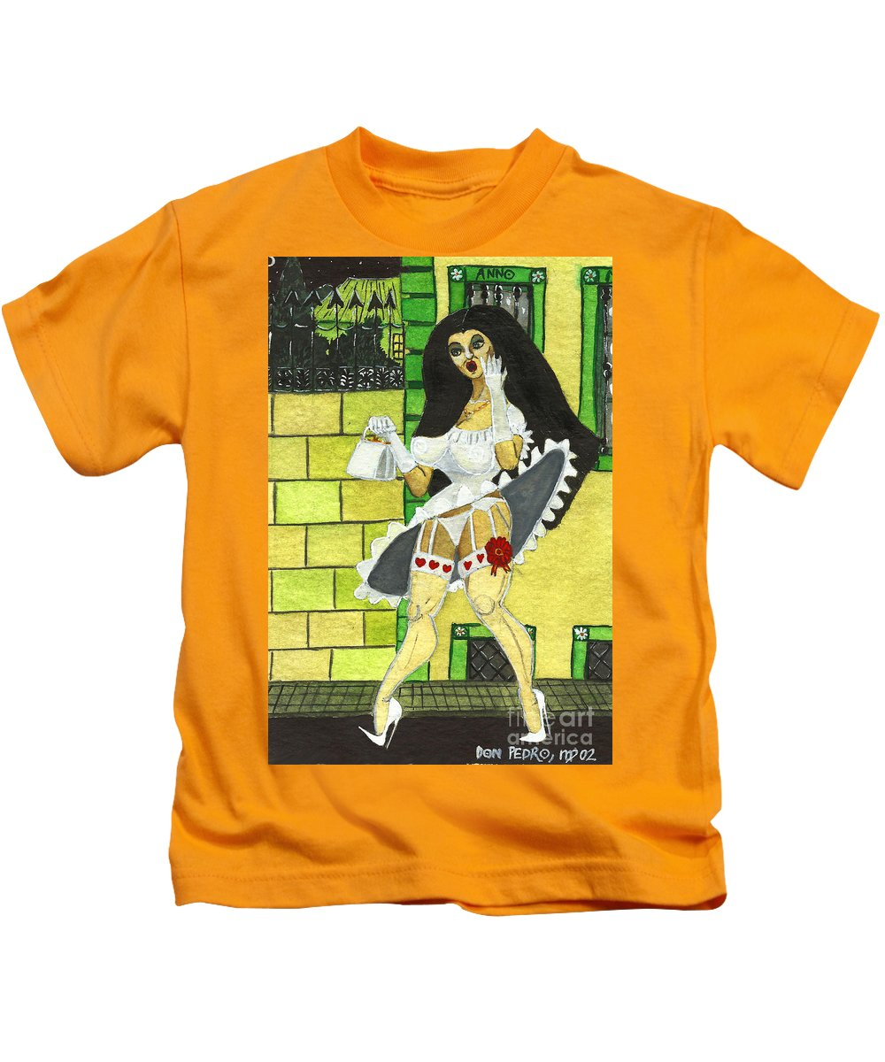 Cartoon Kids T-Shirt featuring the painting Skirt Up by Don Pedro DE GRACIA