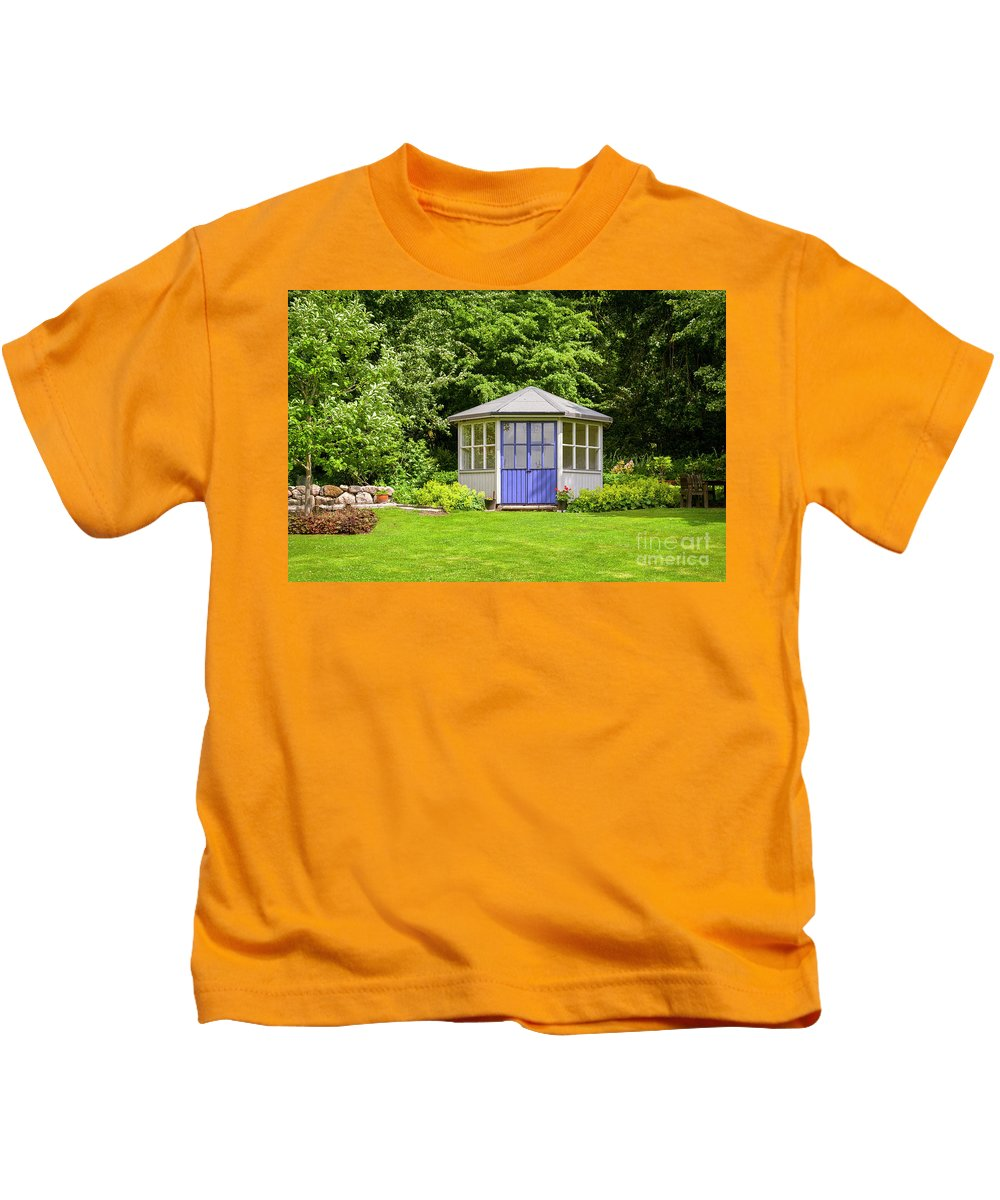 Blue Kids T-Shirt featuring the photograph Garden Gazebo House by Sophie McAulay