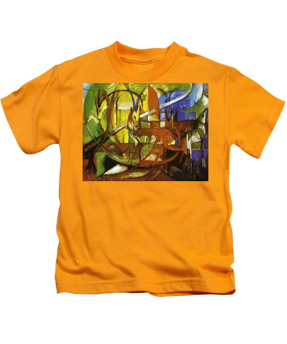 Gazelles Kids T-Shirt featuring the painting Gazelles 1913 by Marc Franz