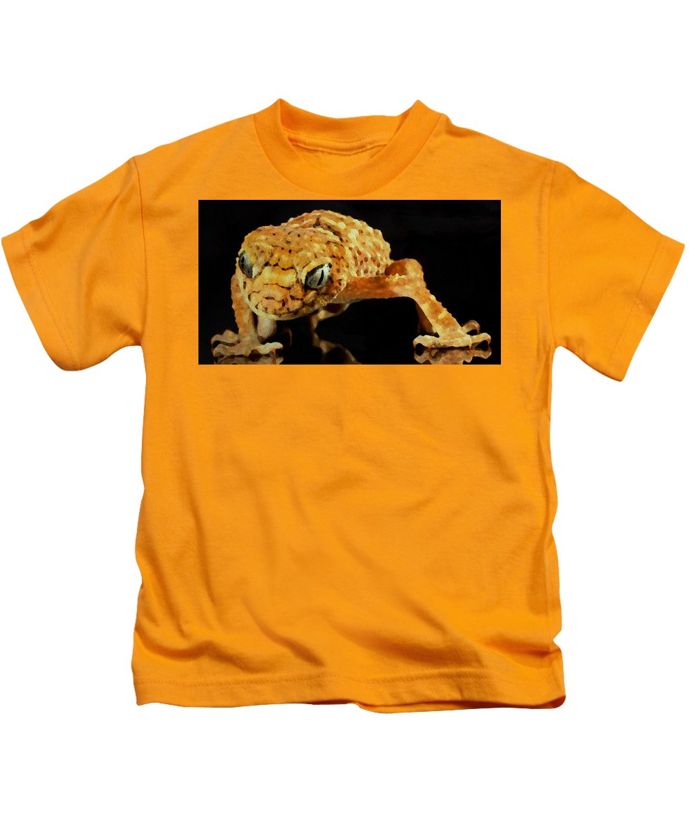 Gecko Kids T-Shirt featuring the painting Gecko - Id 16218-130646-3343 by S Lurk