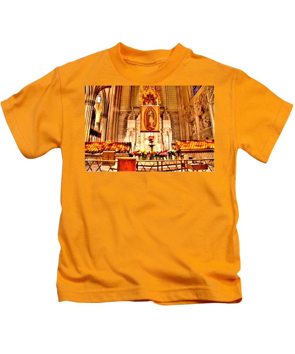 Candles Kids T-Shirt featuring the photograph Ghostly Candles by Lord Frederick Lyle Morris - Disabled Veteran