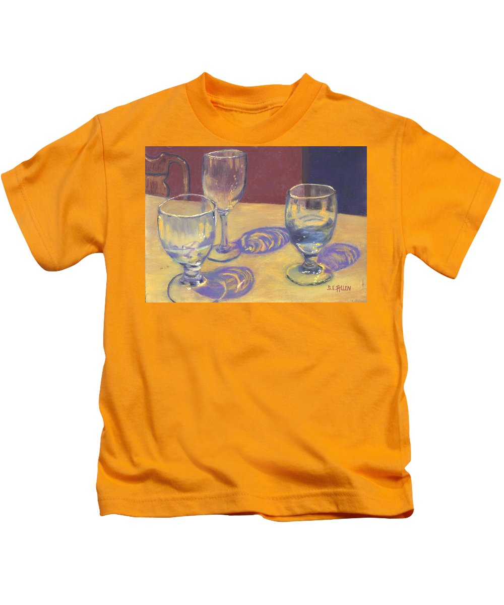 Glasses Kids T-Shirt featuring the painting Glasslights by Sharon E Allen