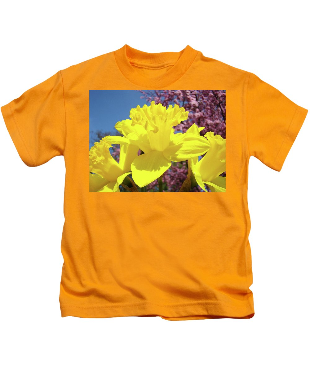Daffodils Kids T-Shirt featuring the photograph Glowing Yellow Daffodils Art Prints Pink Blossoms Spring Baslee Troutman by Baslee Troutman