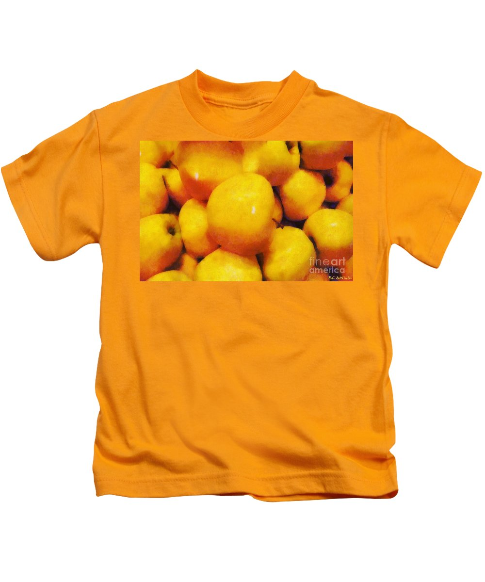 Apples Kids T-Shirt featuring the painting Golden Apples Of The Sun by RC DeWinter
