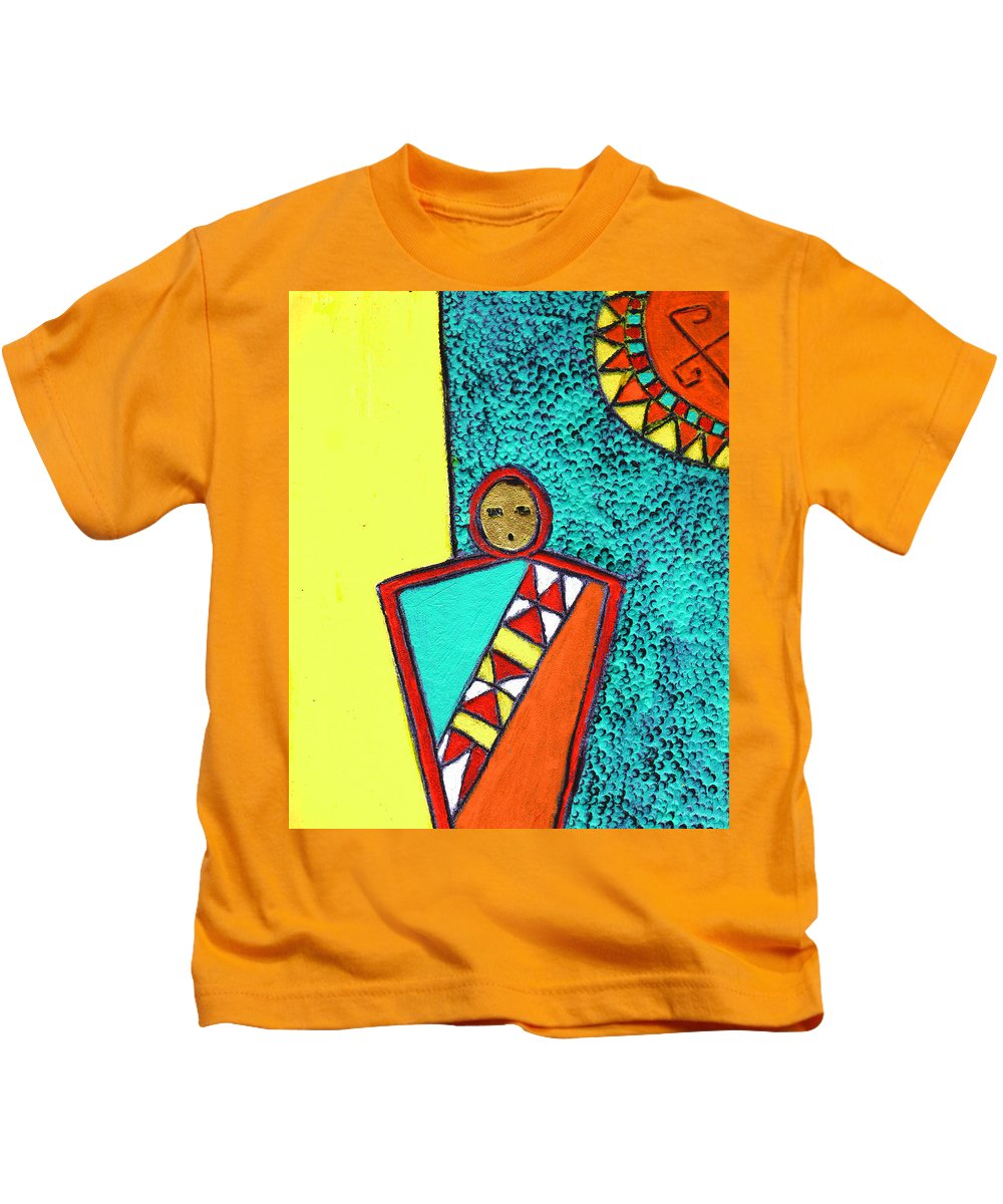 Southwest Kids T-Shirt featuring the painting Golden Child Of The South West by Wayne Potrafka