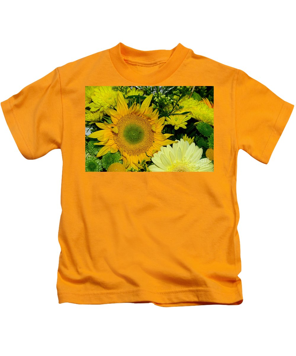 Photography Kids T-Shirt featuring the photograph Golden Sunflower Yellow Bouquet By Kaye Menner by Kaye Menner