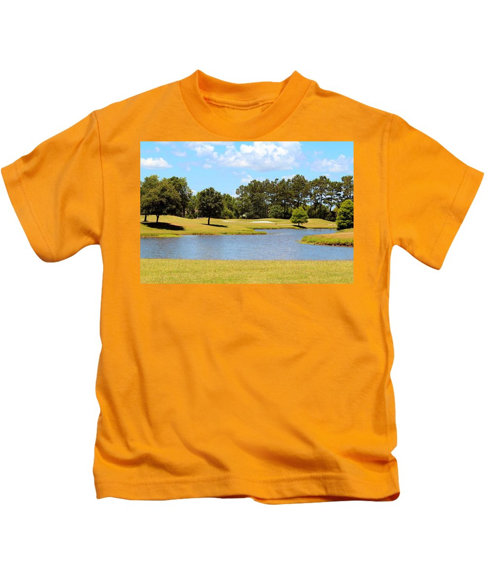 Landscape Kids T-Shirt featuring the photograph Golf Course Beauty by Cynthia Guinn