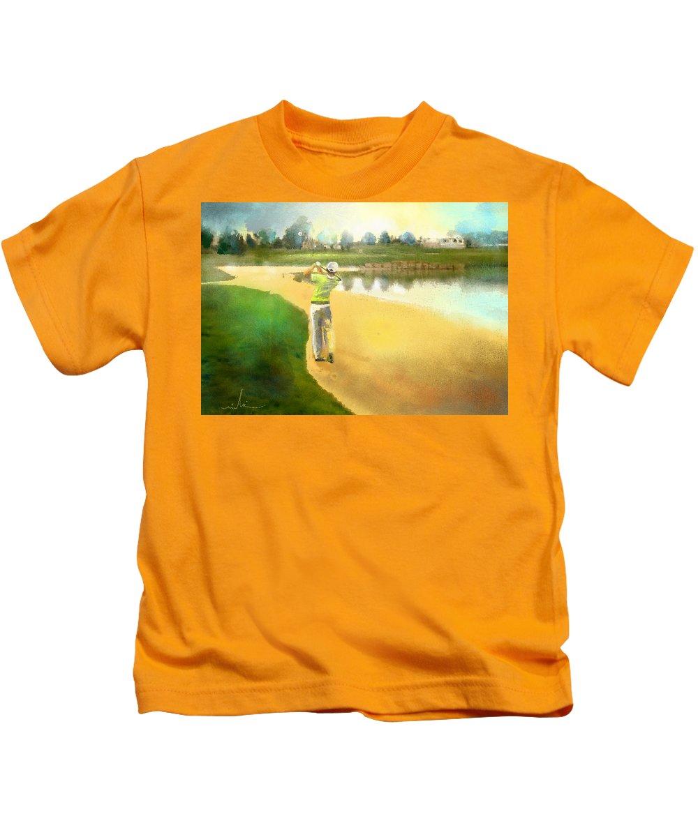 Golf Kids T-Shirt featuring the painting Golf In Club Fontana Austria 02 by Miki De Goodaboom