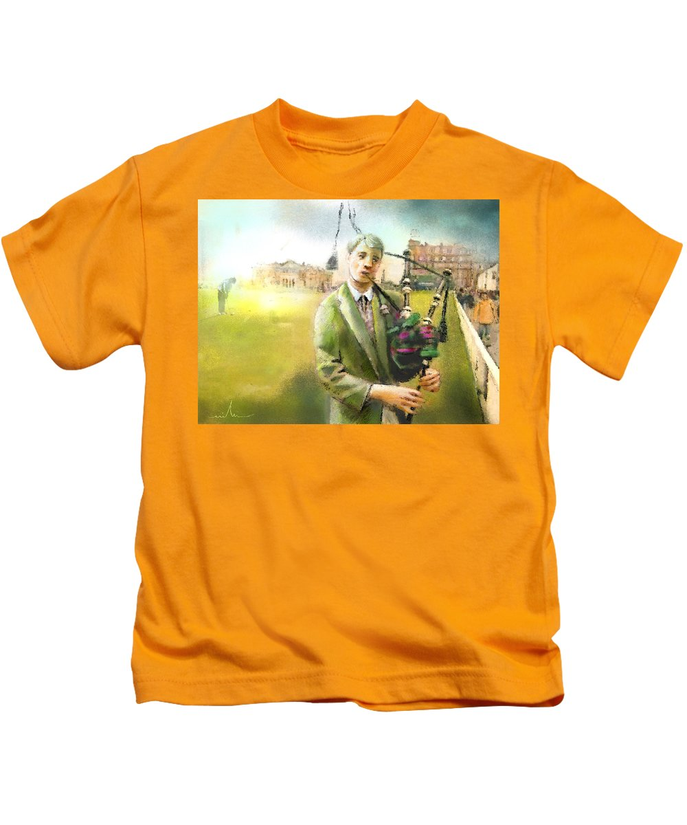 Golf Kids T-Shirt featuring the painting Golf In Scotland Saint Andrews 03 by Miki De Goodaboom