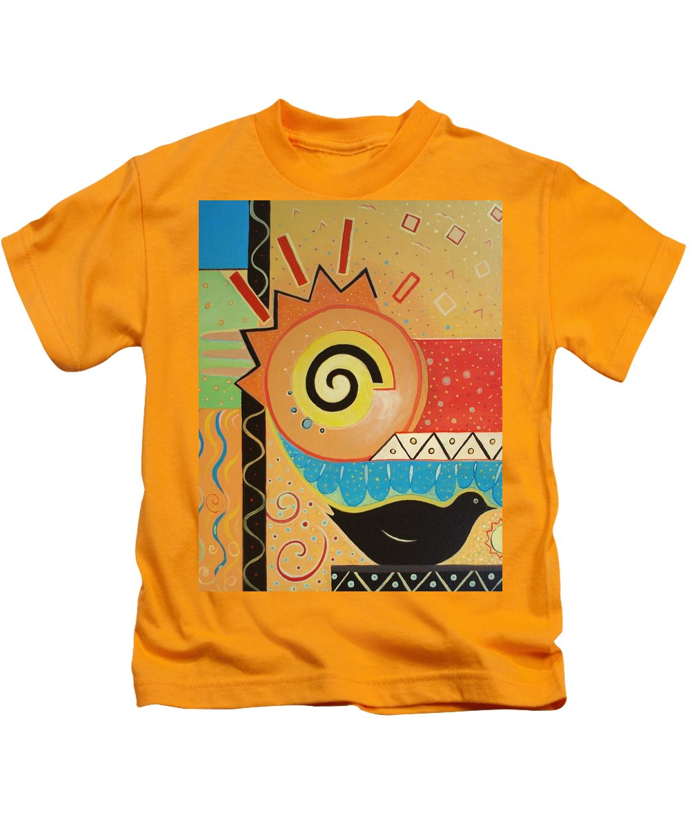 Rise And Shine Kids T-Shirt featuring the painting Good Morning by Helena Tiainen