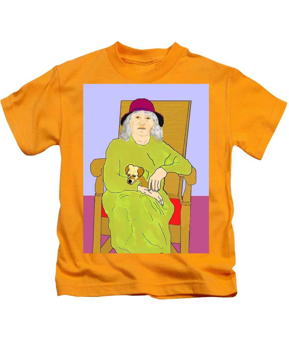 Grandmother Kids T-Shirt featuring the painting Grandma And Puppy by Pharris Art