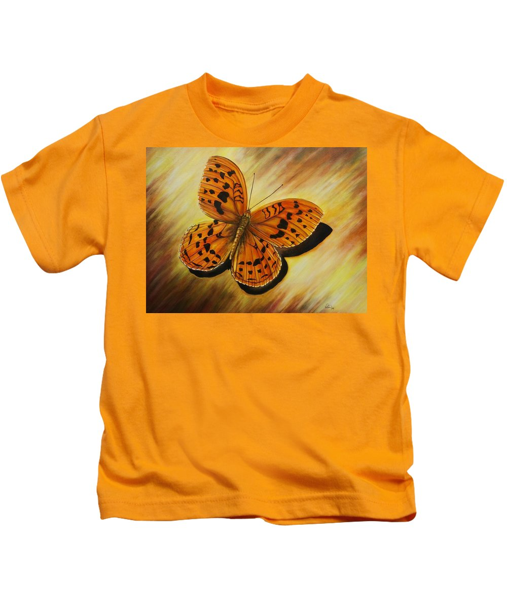 Butterfly Kids T-Shirt featuring the painting Greek Butterfly by Vivian Casey