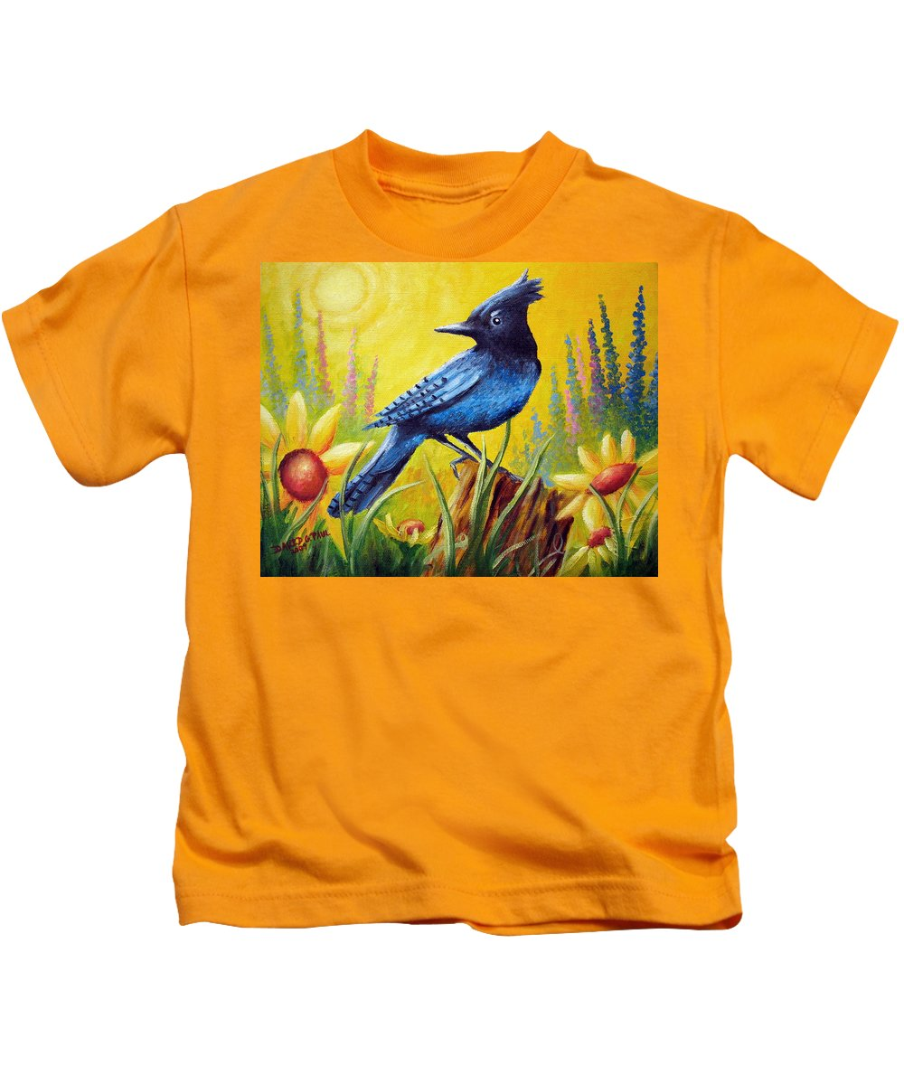 Bird Kids T-Shirt featuring the painting Greeting The Day by David G Paul