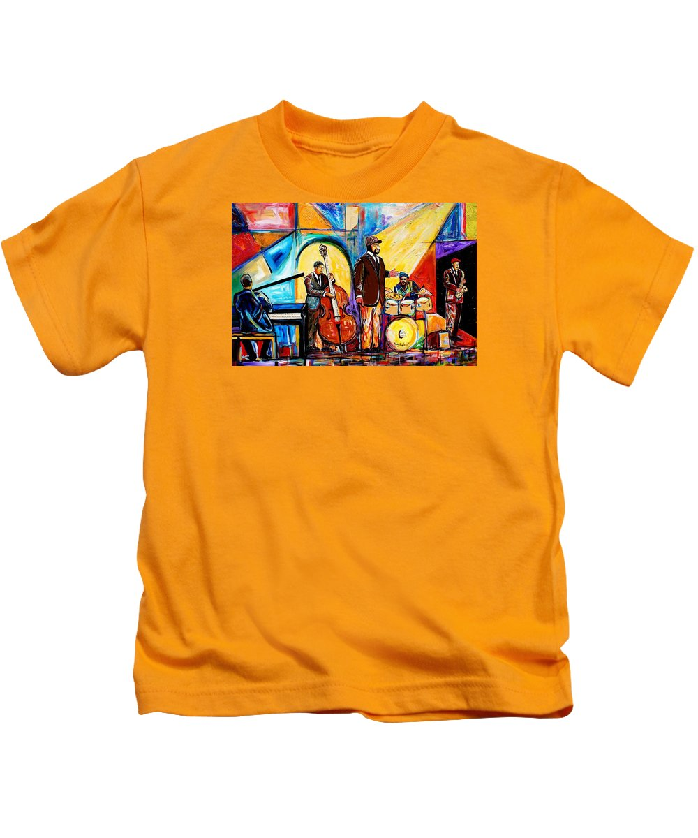 Everett Spruill Kids T-Shirt featuring the painting Gregory Porter and Band by Everett Spruill