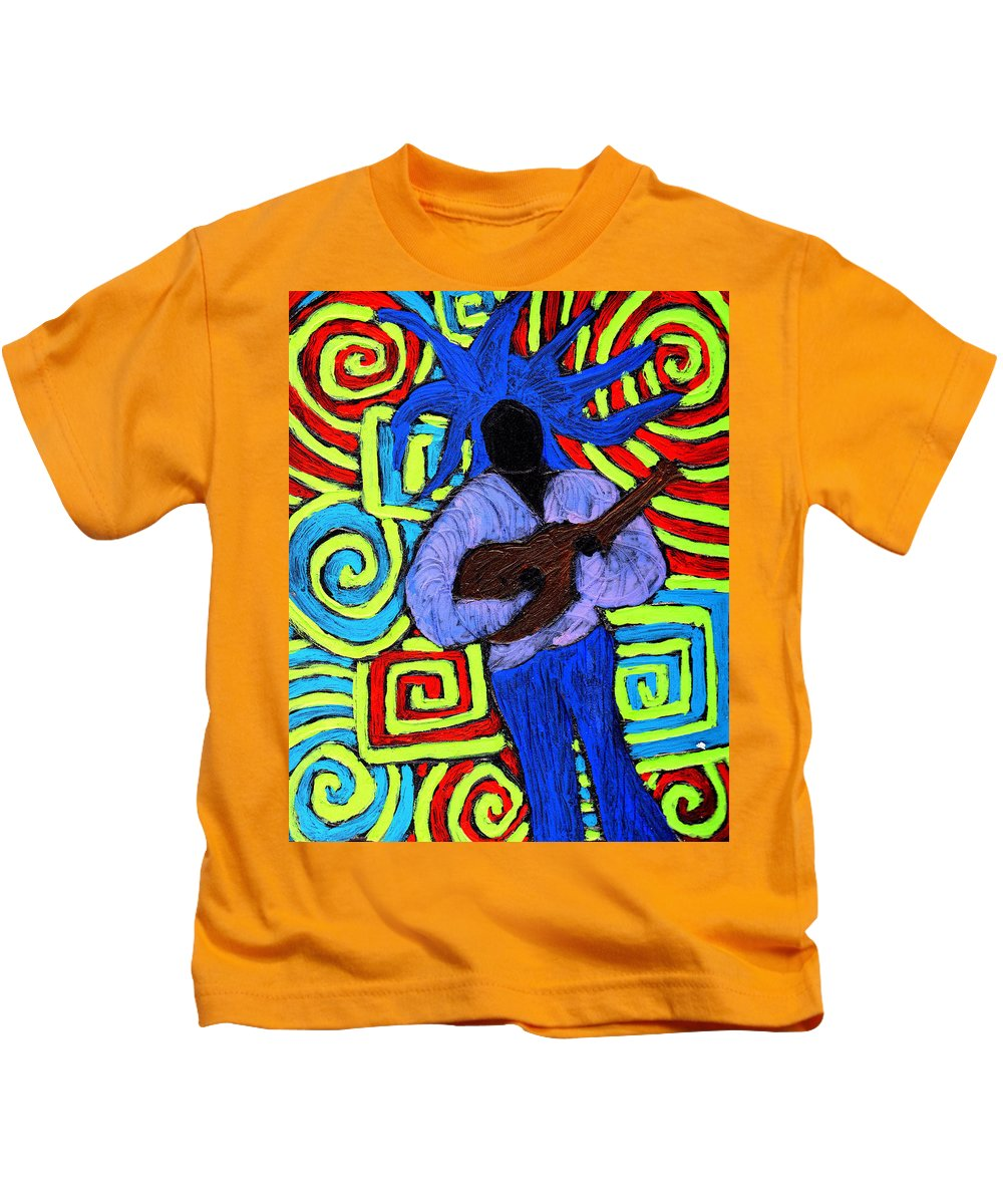 Music Kids T-Shirt featuring the painting Guitar Solo by Wayne Potrafka