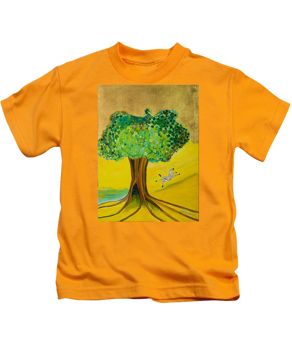 Landscape Kids T-Shirt featuring the painting Happiness by Jarle Rosseland