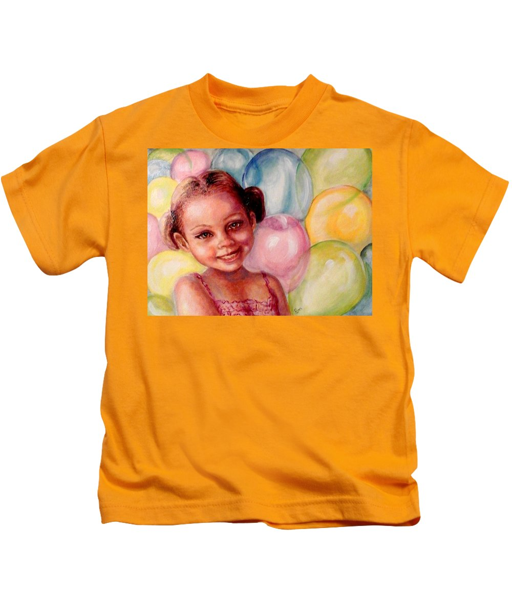 Balloons Kids T-Shirt featuring the painting Happy Balloons by Em Scott