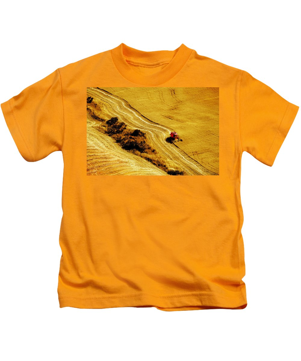 Combine Kids T-Shirt featuring the photograph Harvesting The Crop by Mal Bray