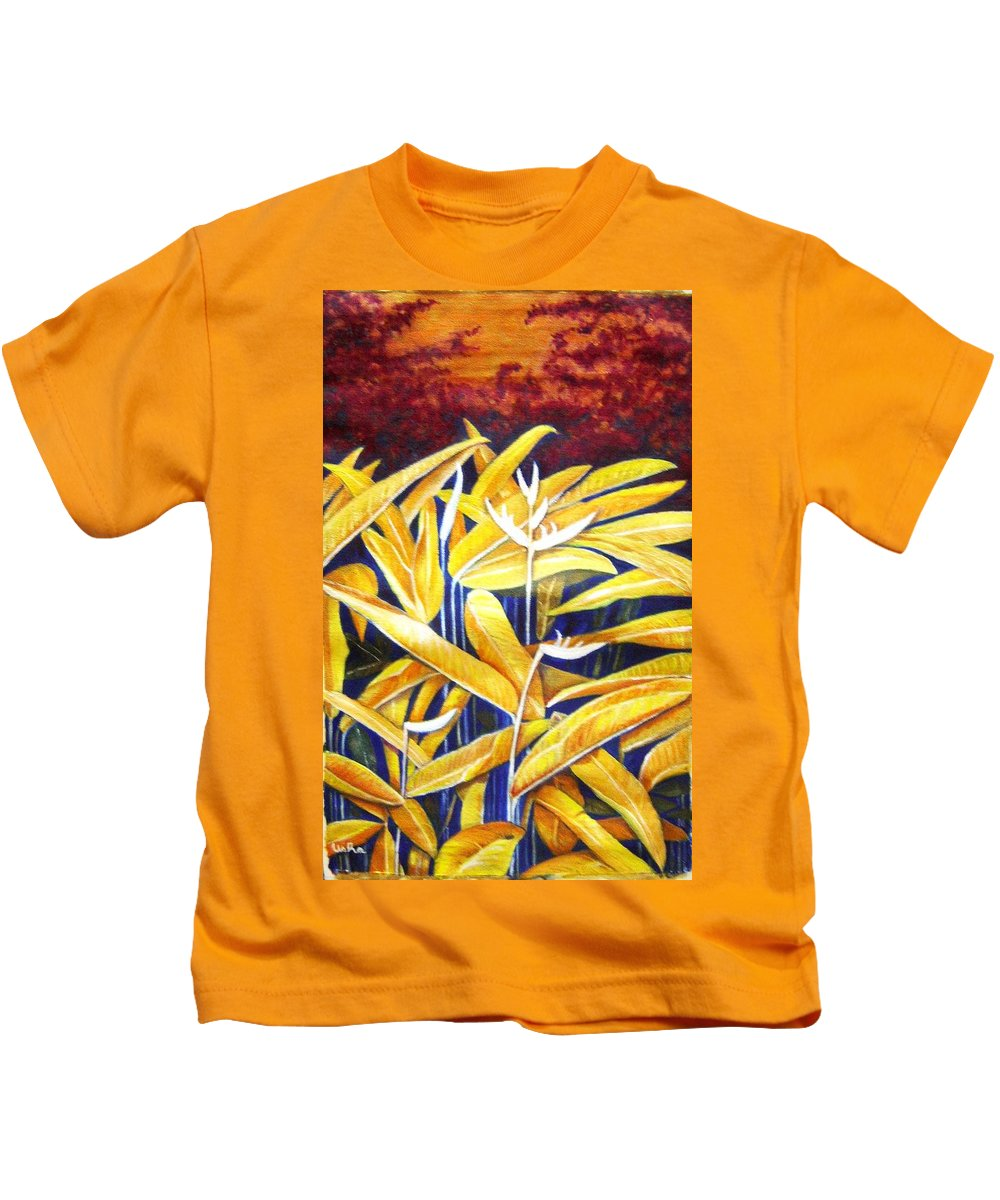 Heliconia Kids T-Shirt featuring the painting Heliconia by Usha Shantharam