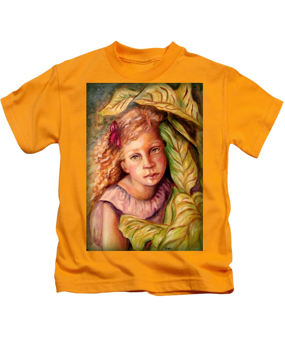 Little Girl Kids T-Shirt featuring the painting Hiding by Em Scott