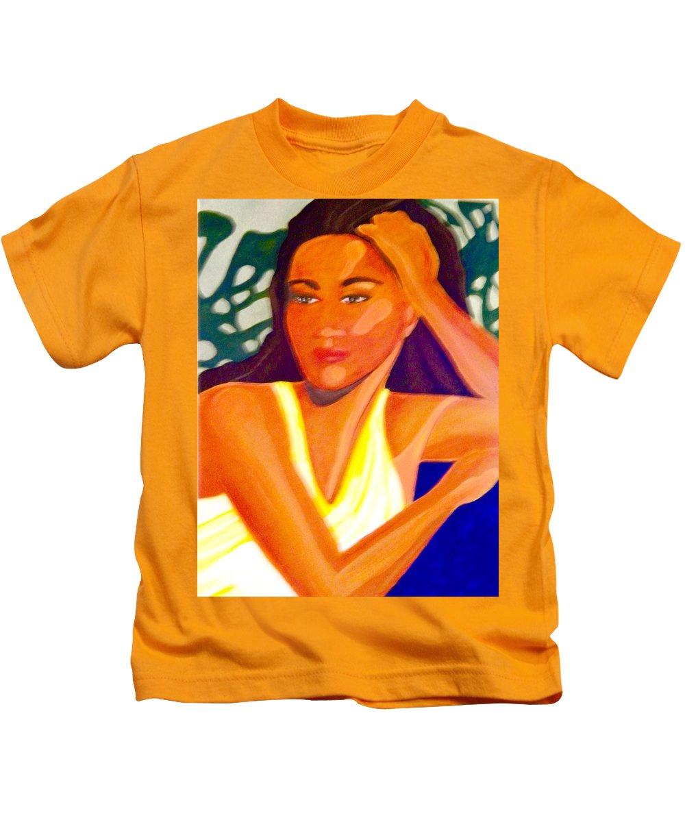 Woman Kids T-Shirt featuring the painting Hinanopolani by Jamie Laniakea Clark