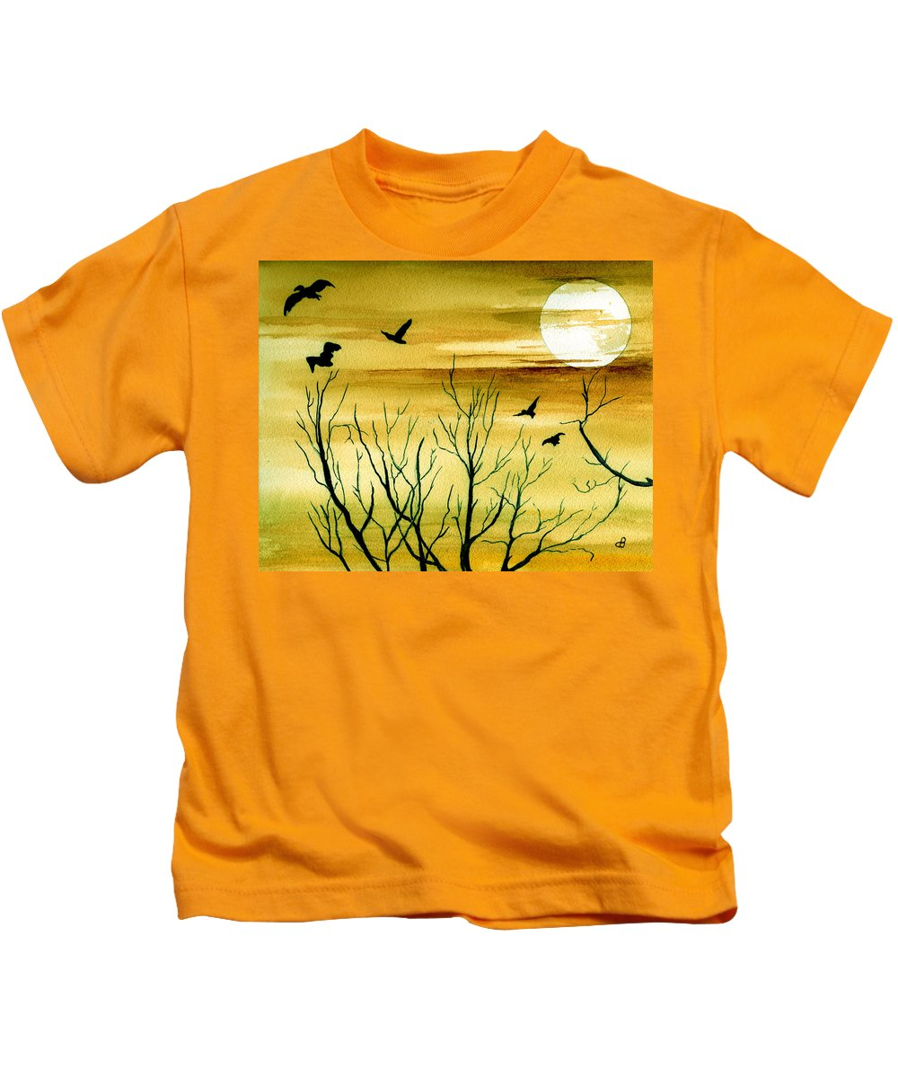 Landscape Watercolor Birds Ravens Crows Trees Sun Sunset Sky Clouds Kids T-Shirt featuring the painting Homeward by Brenda Owen