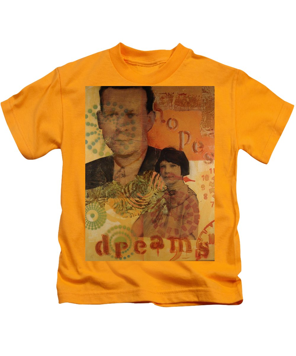 Mixed Media Kids T-Shirt featuring the mixed media Hopes And Dreams by Buff Holtman