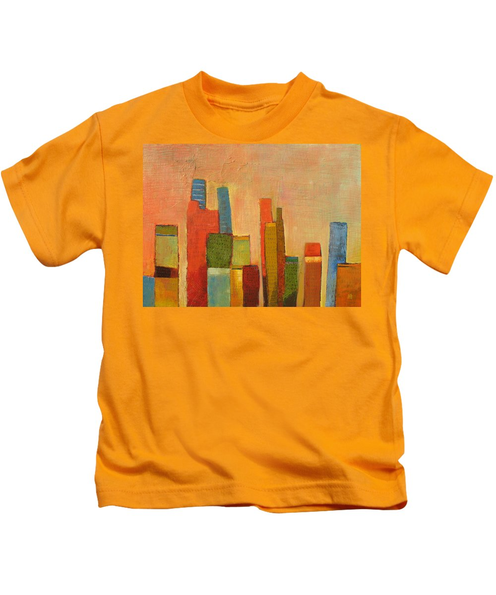 Abstract Cityscape Kids T-Shirt featuring the painting Hot Manhattan by Habib Ayat