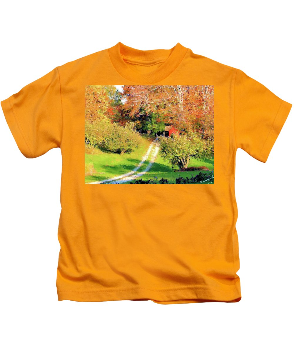 Country Road Kids T-Shirt featuring the photograph House In The Hills by Kristin Elmquist
