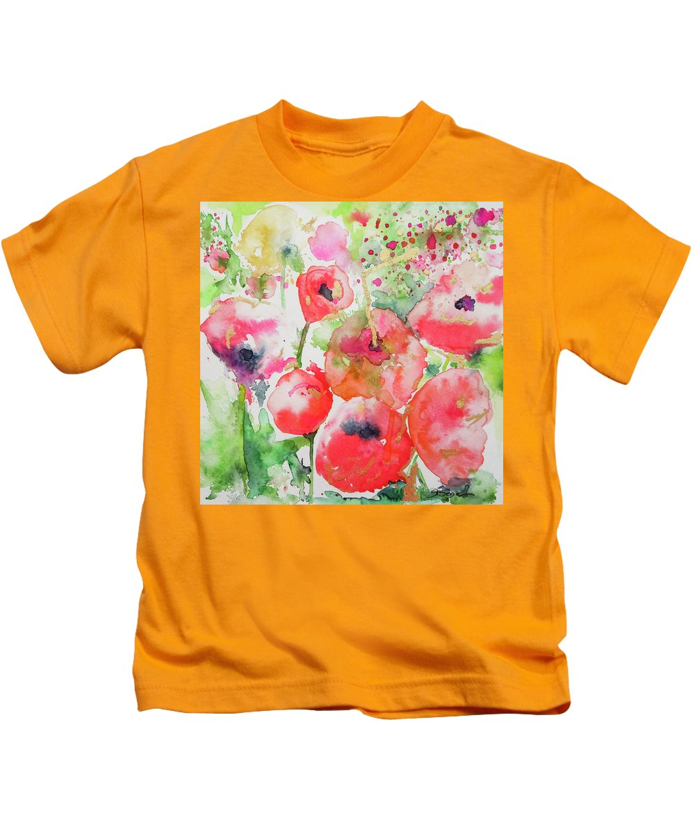 Poppies Kids T-Shirt featuring the painting Illusions Of Poppies by Roleen Senic