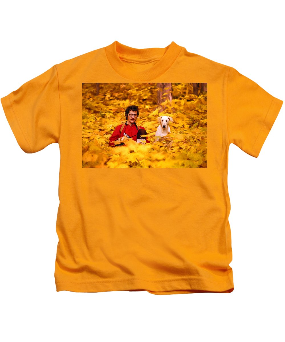 Maples Kids T-Shirt featuring the photograph In A Yellow Wood - Paint by Steve Harrington
