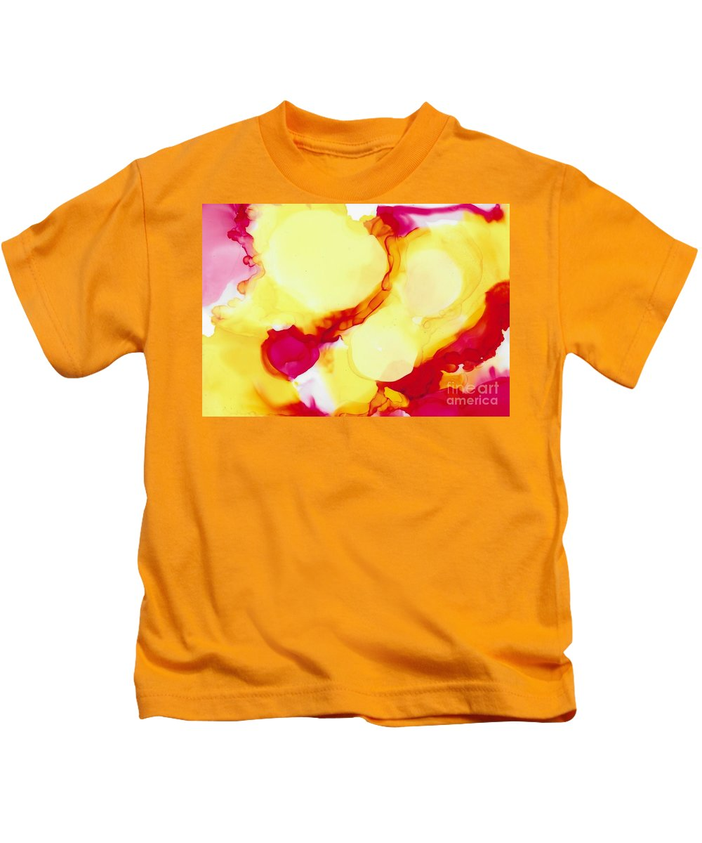 Vitality Clarity Intellectual Energy Martidecoste Clear Stability Fresh Renewal Spring Birth Emotion Love Kids T-Shirt featuring the painting Intellectual Energy by Marti DeCoste