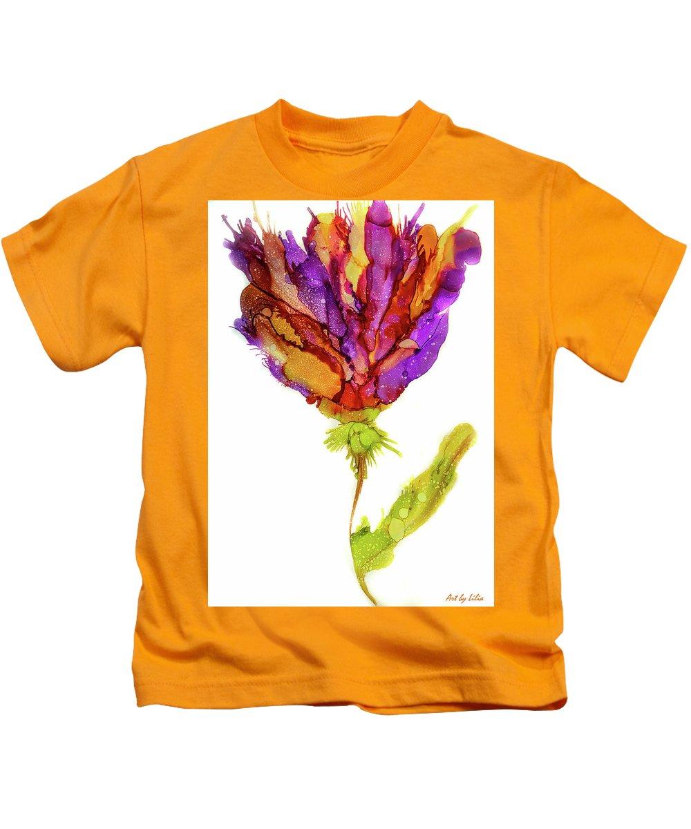 Iris Flower Kids T-Shirt featuring the painting Iris Flower 2 by Lilia D