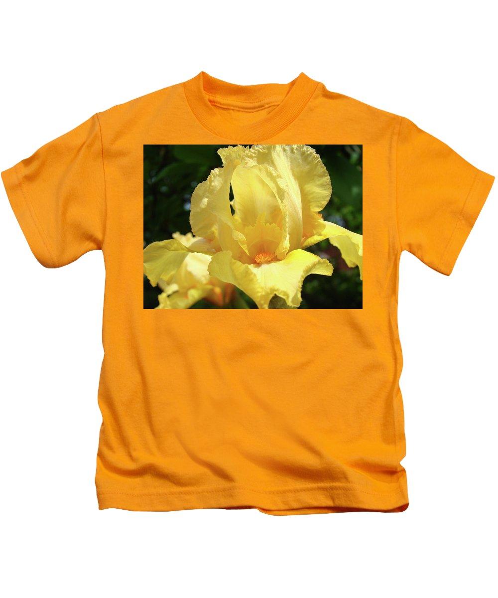 Iris Kids T-Shirt featuring the photograph Iris Flower Floral Art Prints Orange Irises by Baslee Troutman