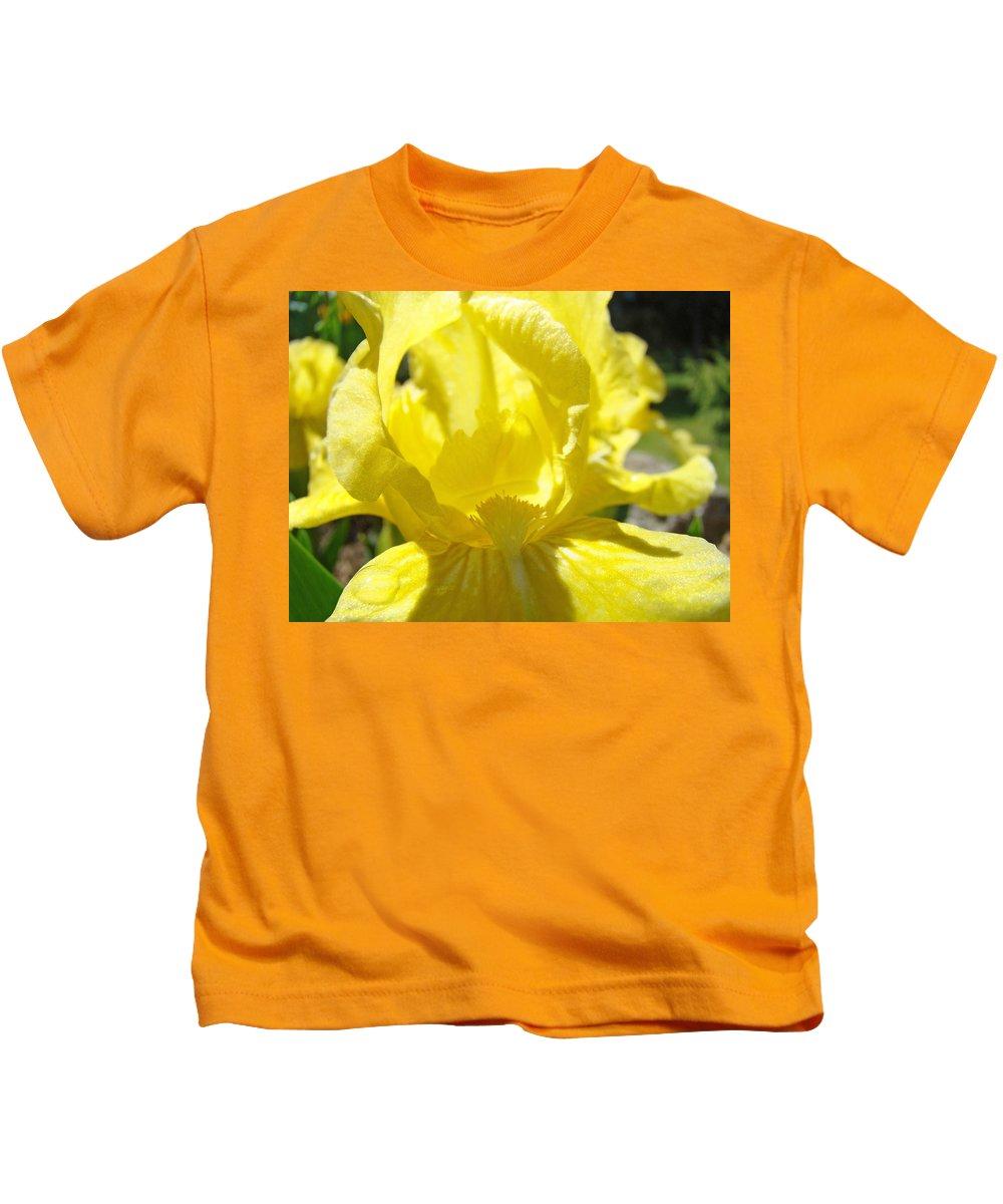 �irises Artwork� Kids T-Shirt featuring the photograph Iris Flower Yellow Macro Close Up Irises 30 Sunlit Iris Art Print Baslee Troutman by Baslee Troutman