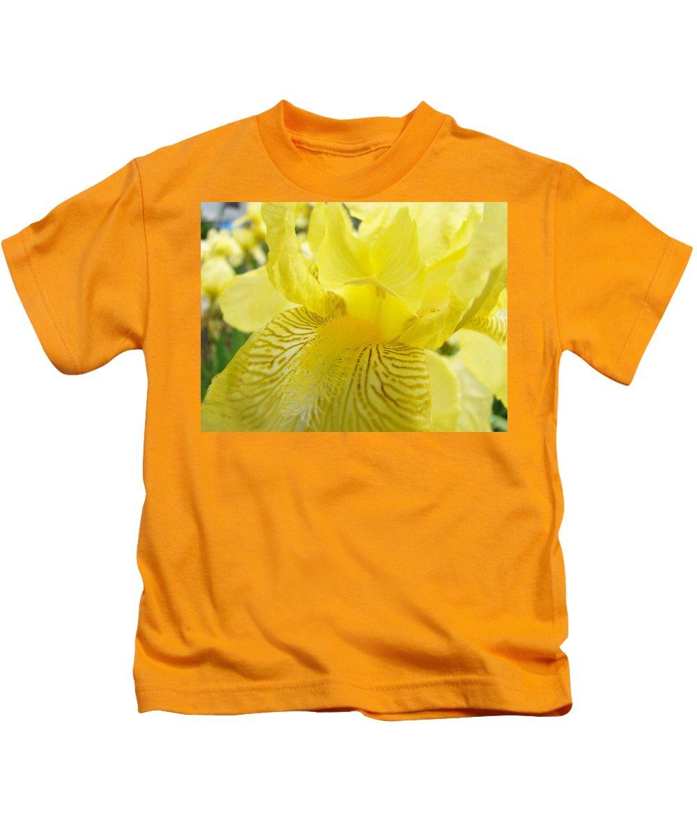 �irises Artwork� Kids T-Shirt featuring the photograph Irises Yellow Brown Iris Flowers Irises Art Prints Baslee Troutman by Baslee Troutman