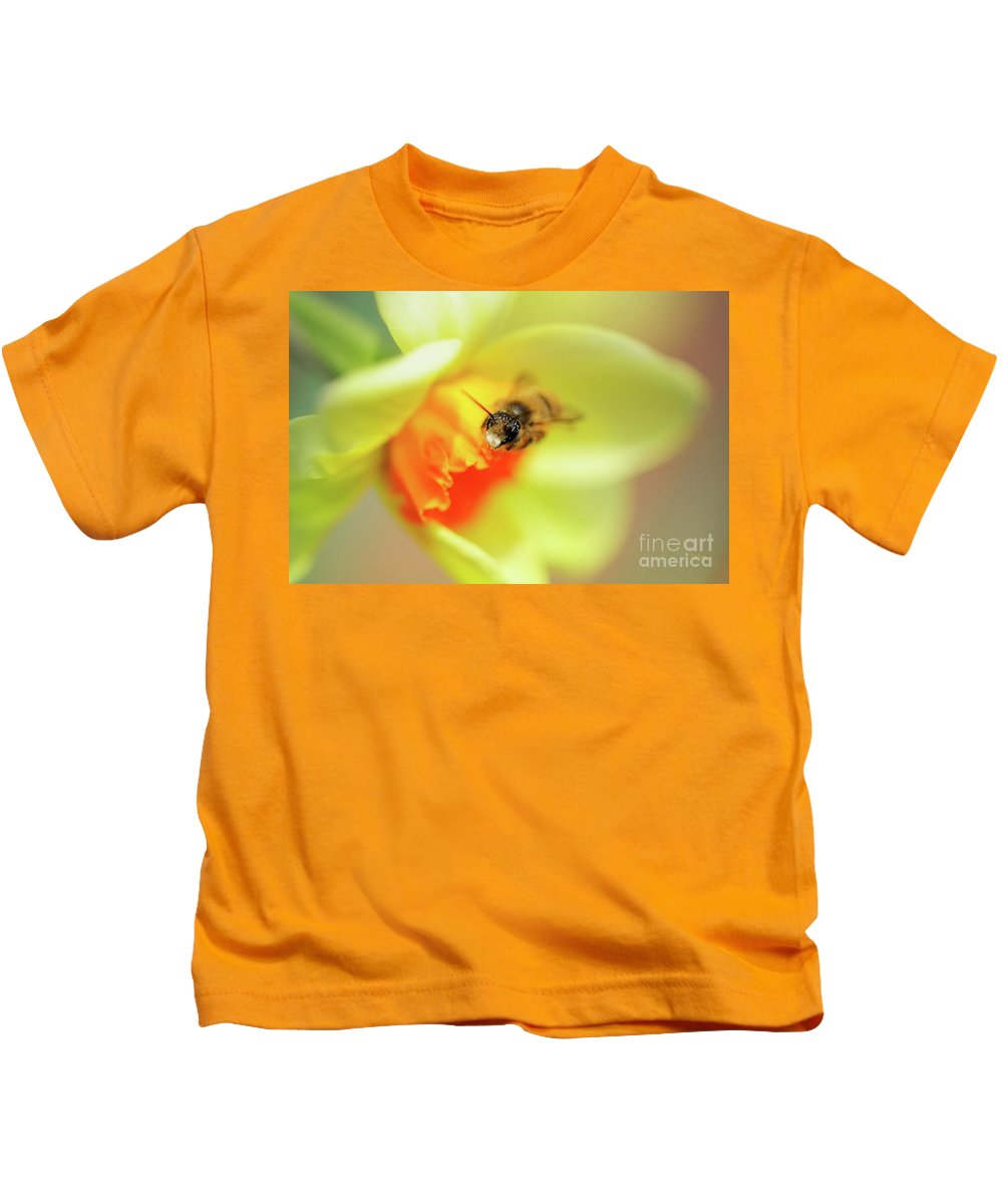 Bee Kids T-Shirt featuring the photograph It Just Wouldn't Bee Spring Without ... by Lois Bryan