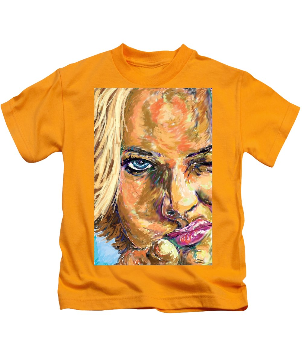 Jaime Pressly Kids T-Shirt featuring the painting Jaime Pressly by Travis Day