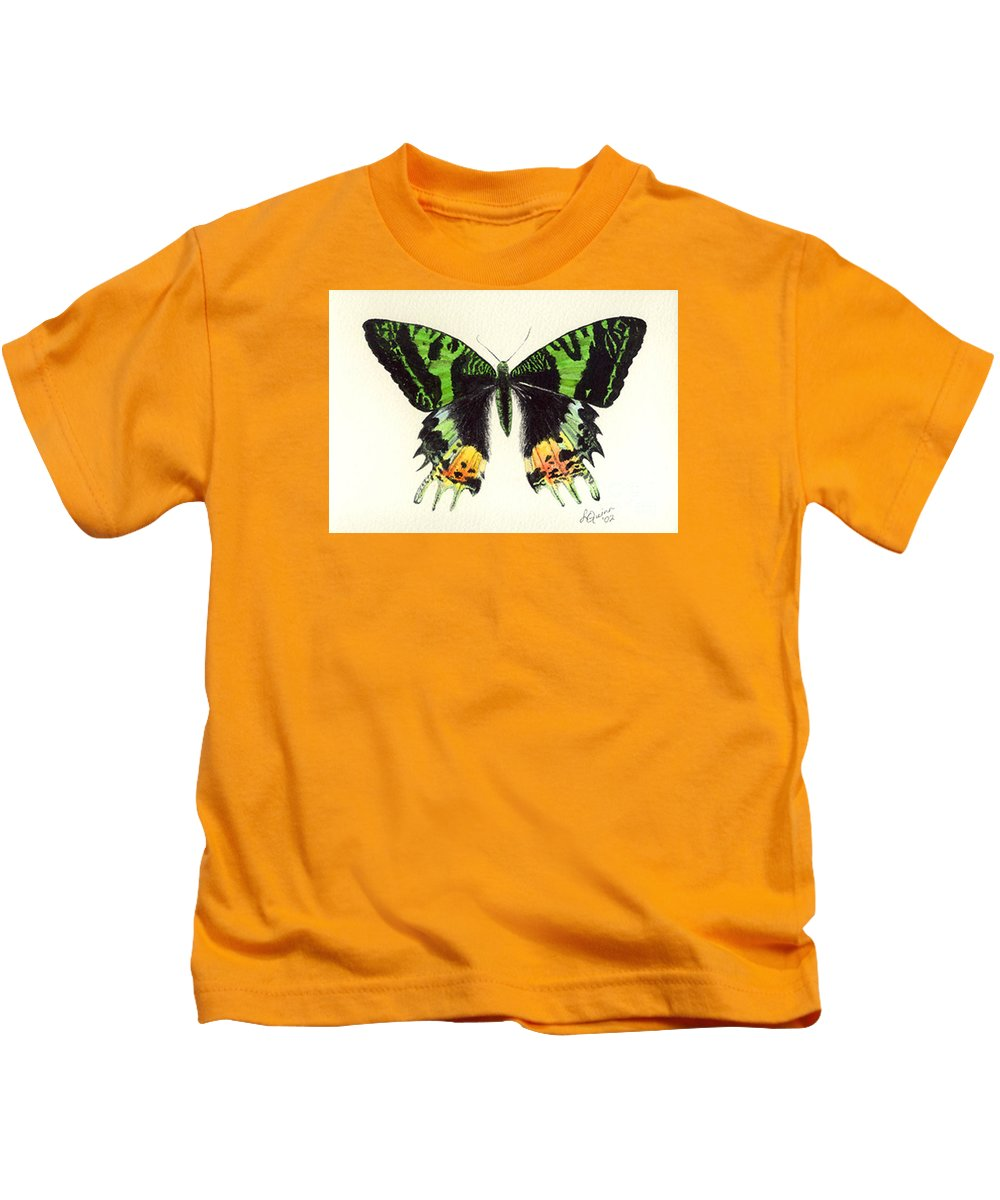 Butterfly Kids T-Shirt featuring the painting Jamaican Jewel by Lynn Quinn