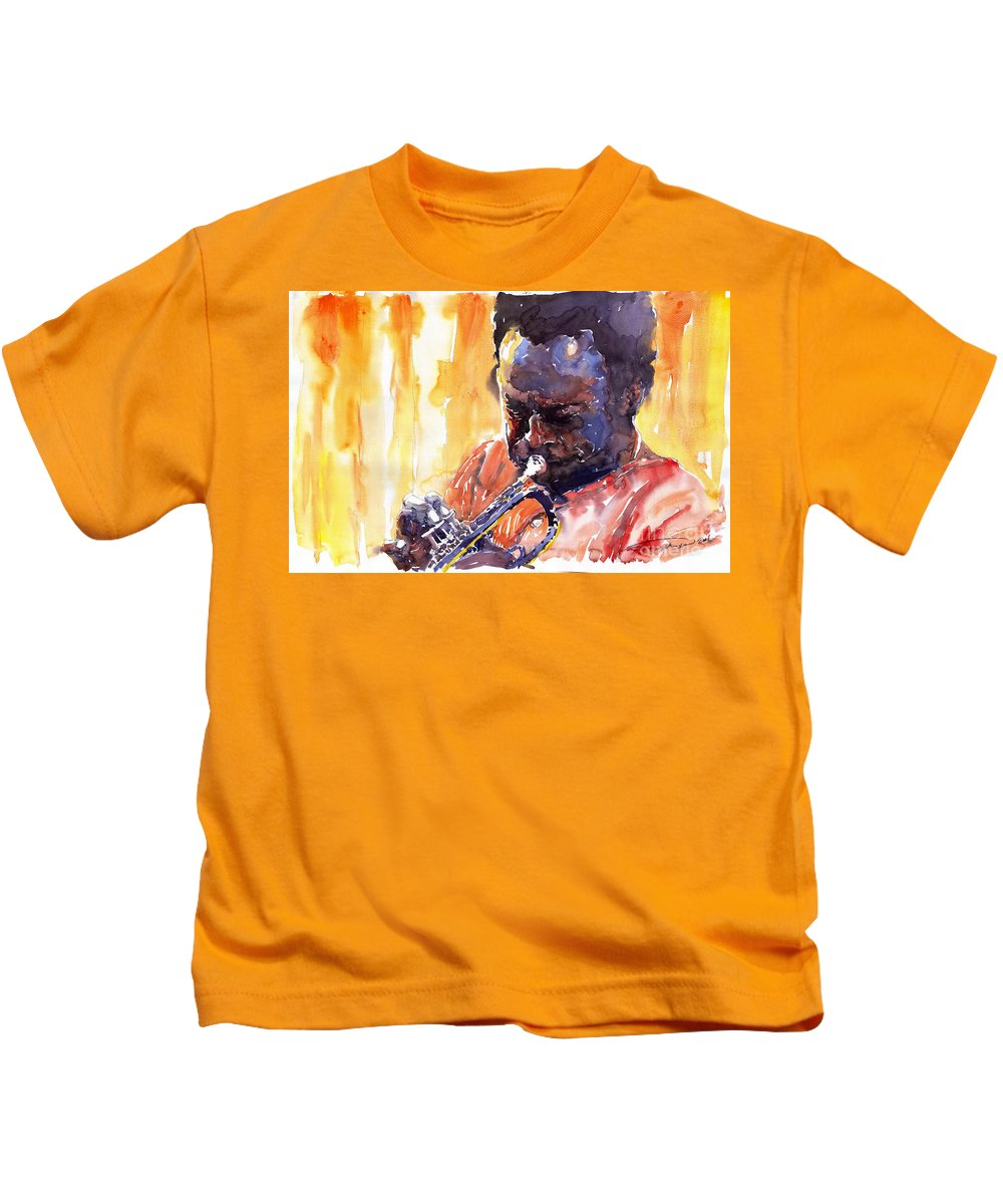 Jazz Miles Davis Music Watercolor Watercolour Figurativ Portret Trumpeter Kids T-Shirt featuring the painting Jazz Miles Davis 8 by Yuriy Shevchuk