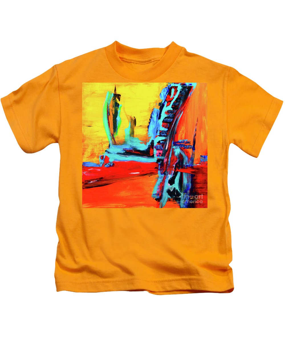 Original Kids T-Shirt featuring the painting Jet Setting by ElsaDe Paintings
