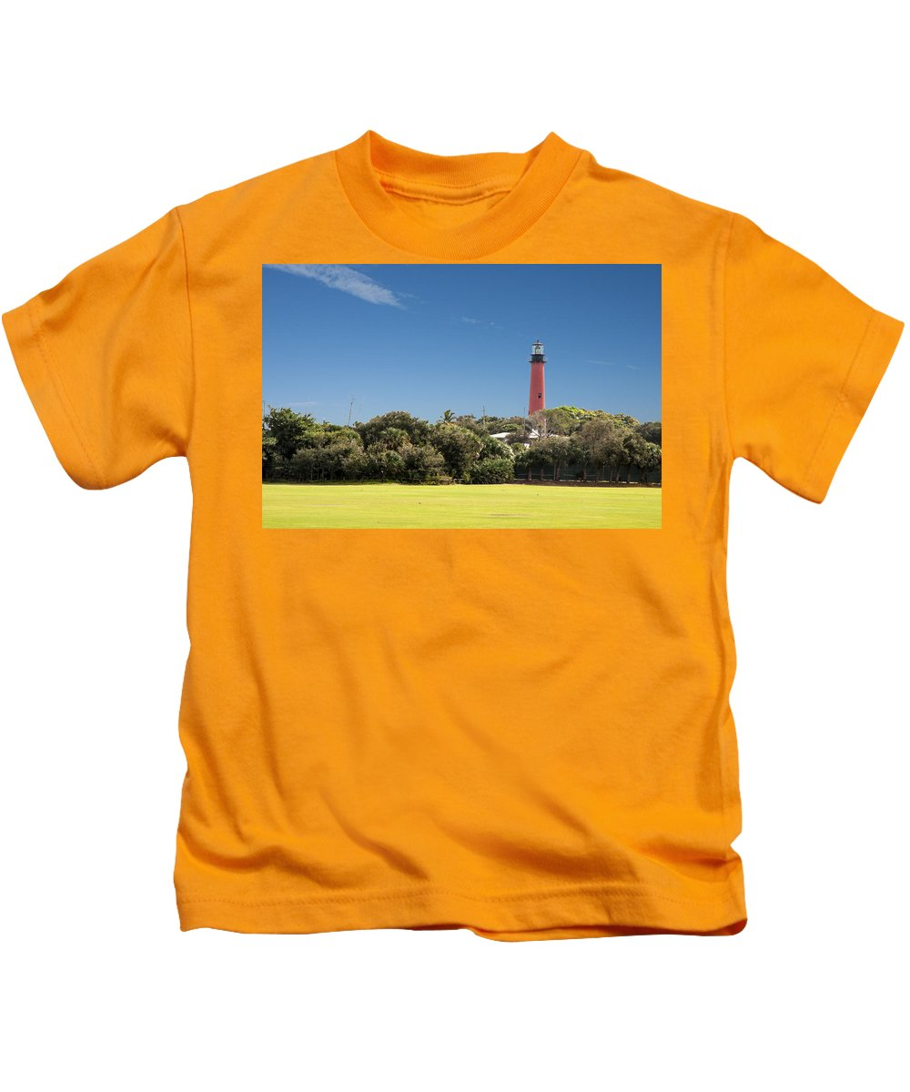 Lighthouse Kids T-Shirt featuring the photograph Jupiter Inlet Lighthouse by Norman Johnson