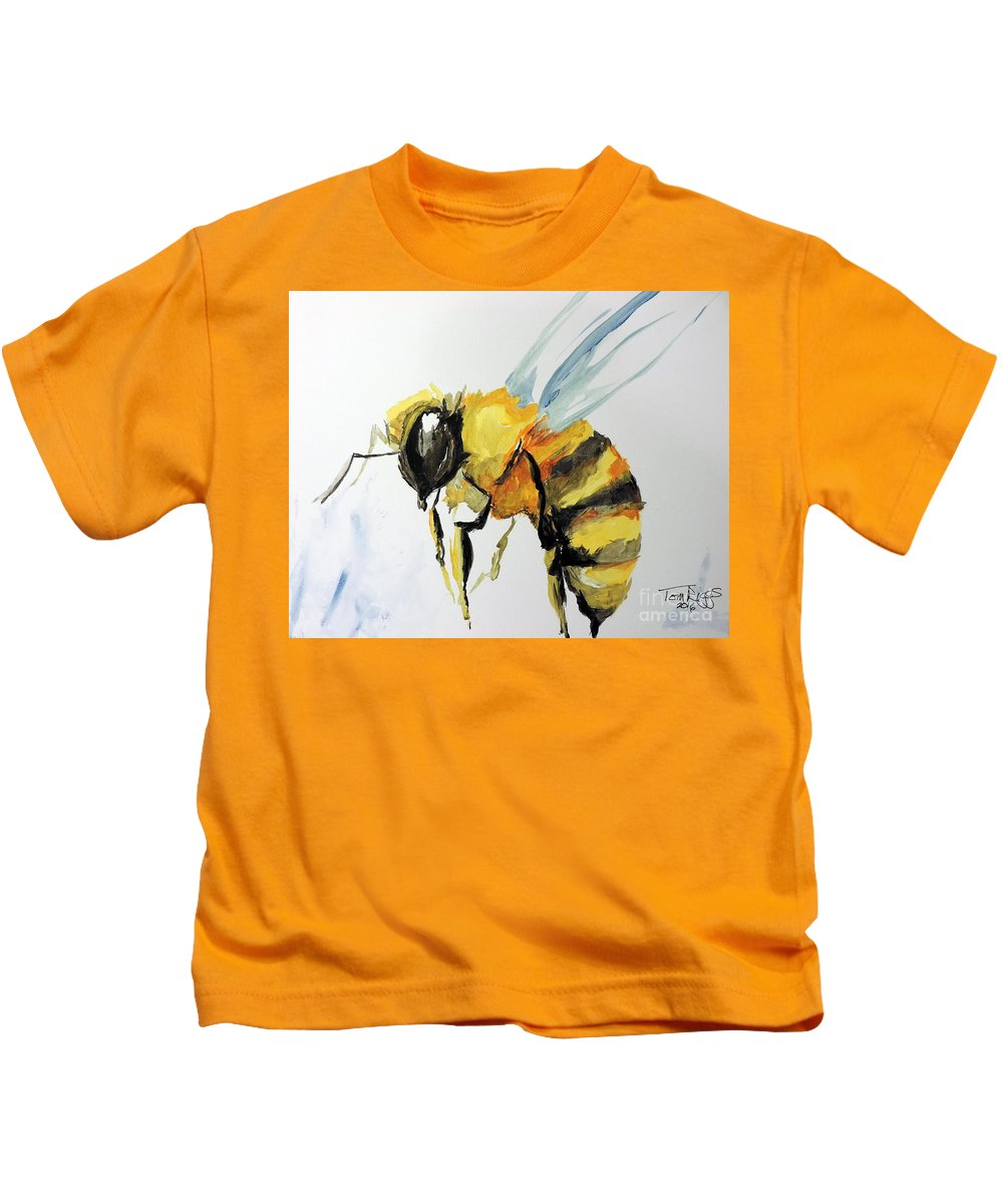 Bee Kids T-Shirt featuring the painting Just Beecause by Tom Riggs