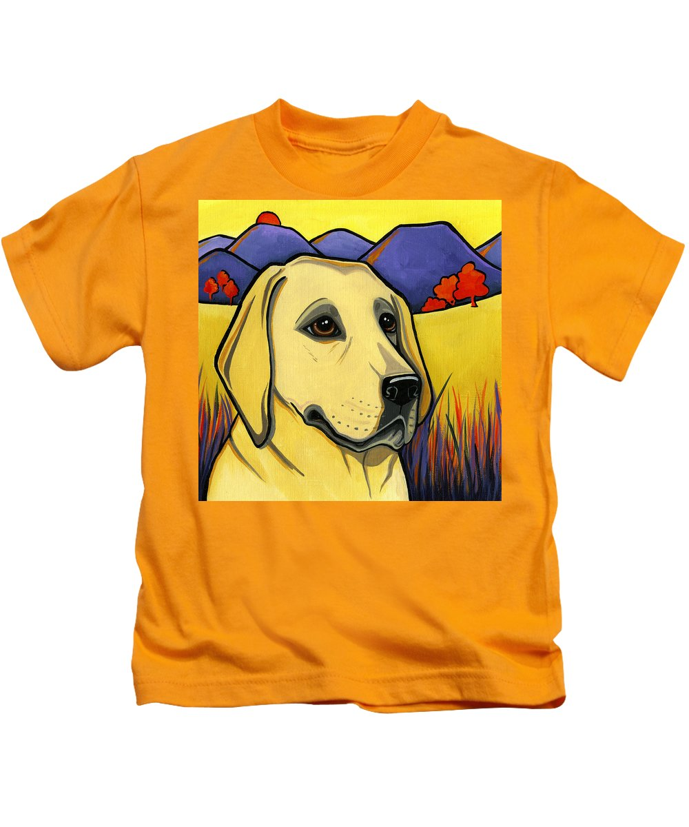 Labrador Kids T-Shirt featuring the painting Labrador by Leanne Wilkes