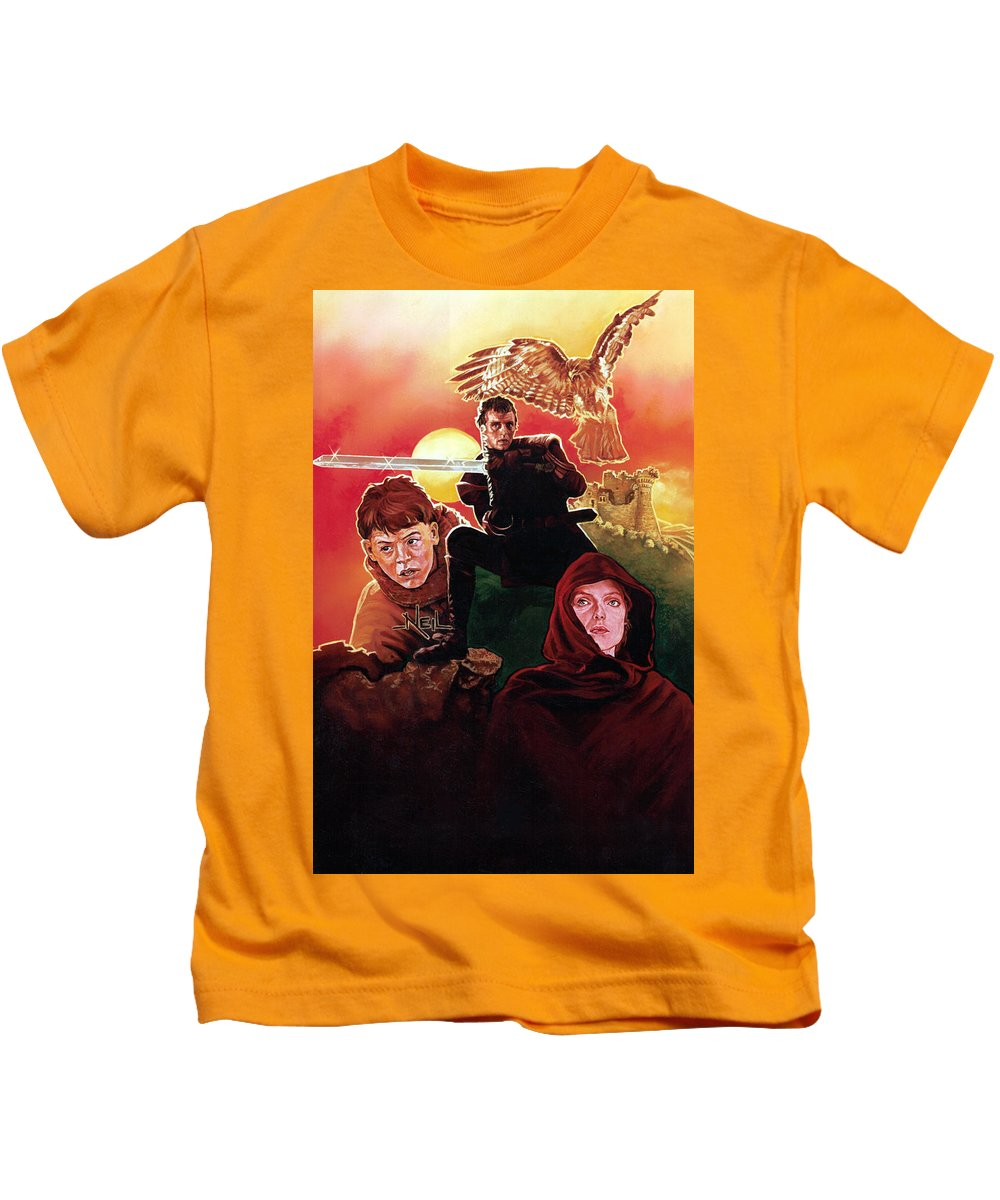 Adyhawke Richard Donner Matthew Broderick Rutger Hauer Michelle Pfeiffer Oil Paint Acrylic Airbrush Sci Fi Film Prismacolor Kids T-Shirt featuring the painting Ladyhawke by Neil Feigeles